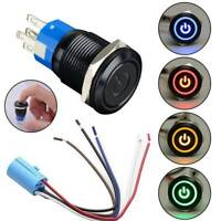12V LED Power Symbol ON-OFF Car Push Button Switch Latch Metal Toggle SPDT AU