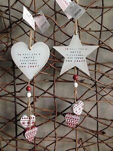 Heaven Sends Christmas star heart shabby chic hanging tree decoration 8cm