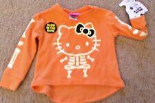 NWT Hello Kitty Girls Orange Long Sleeve Halloween Skeleton T-Shirt Top 12 Mo