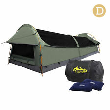 Weisshorn Double Camping Canvas Swag Tent With Air Pillow Mattress Bag 5 Colours Green
