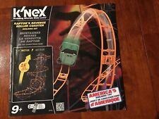 K'Nex Raptor's Revenge Roller Coaster Instruction Manual Only #51432 -Euc
