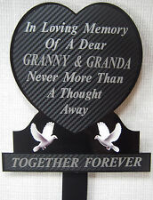 Memorial Plaque Grave Heart Personalised GRANNY & GRANDA In Loving Memory