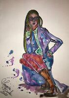 ORIGINAL Malerei A3 PAINTING zeichnung aquarell FRAU WOMEN akt Fashion abstract