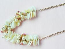 Accessorize Collar De Oro _ Madre de Perla Discos, Cremoso perlas, cuentas inusual