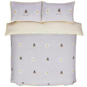 Bee Kind King Size Duvet Cover Set Daisy Honeycomb Grey/Ochre Reversible Bedding