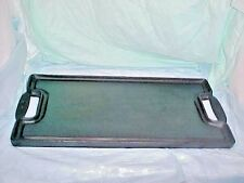 Reversible Cast Iron BIG Griddle FLAT SURFACE & RIBBED MARKED E HANDLES Emeril ?