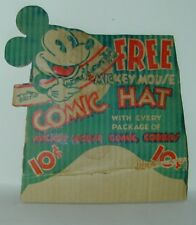 Mickey Mouse Comic Cookies Store Carton Cardboard Sign Premium Hat WD Ent 1934