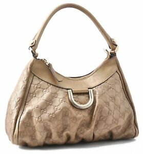 Authentic GUCCI Guccissima Leather Hand Bag Gold A5676