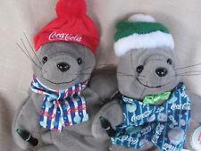 Lot of 2~Coca-Cola Bean Bag Plush Seal w/ Coke Bottle~Striped Scarf & Vest~Euc