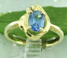14k Solid Yellow Gold 0.79 ct Ladies Oval London Blue Topaz Ring Pre owned