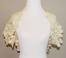 HANDMADE Crochet Shrug ~ Ivory ~ Size Small ~ NWOT ~ cs