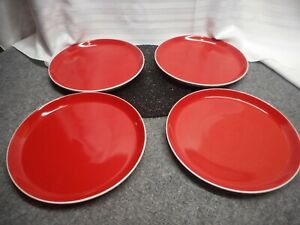 "ONEIDA COLOR BURST RED DINNER PLATE 10.5""  STONEWARE  SET OF 4"