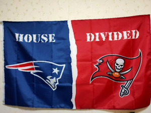 New England Patriots Tampa Bay Buccaneers House Divided Flag 3X5 FT NFL Banner