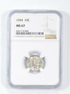 MS67 1944 - Mercury Silver Dime - NGC Graded *720