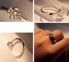 Women Moissanite 925 Silver Solitaire Engagement Wedding Band Ring Size 4-14