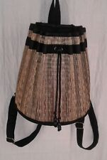 Baskets of Cambodia Backpack Style Purse Handweaved Handmade Black Natural Color
