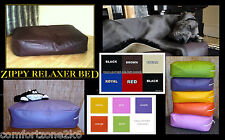 LARGE ZIPPY FAUX LEATHER BEANBAG DOG BED BEAN BAG SOFA 5'' MATTRESS EASYCARE BED