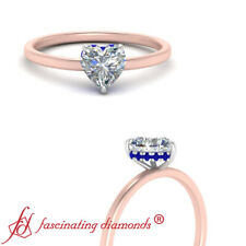 Hidden Halo Engagement Ring With 0.75 Carat Heart Diamond And Sapphire Gemstone