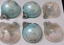 "6 Light Blue + CLEAR Christmas GLASS Ornaments/ GLITTER SPARKLE 3"" TALL"