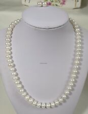 Genuine silver 7.6-8.6 mm 4A High lustre freshwater pearl necklace+earing L46cm