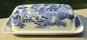 Churchill China BLUE WILLOW Butter Dish Made In Japan - Very Nice!