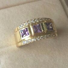 Vintage Jewellery Gold Ring Amethyst and White Sapphires Antique Dress Jewelry