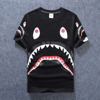 Japan Men's Bape Shark Mouth Camo T-shirt Black White Short Sleeves Tee Tops