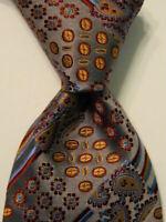 LANCETTI Men's Silk Necktie ITALY Luxury Geometric Gray/Brown/Burgundy EUC Rare