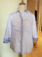 Just White Blouse Size 16 BNWT White Blue Lemon 3/4 Sleeves RRP £93 Now £42