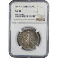 1917 D Reverse Liberty Walking Half Dollar AU 50 NGC 90% Silver 50c US Coin