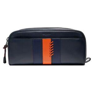 NWT COACH Dopp Kit Baseball Stitch Travel Pouch Make Midnight Navy Orange F76945