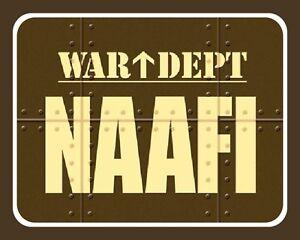 """10"""" x 8"""" NAAFI WAR DEPT RAF NAVY ARMY ROYAL AIR FORCE METAL PLAQUE TIN SIGN N209"""