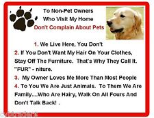 Funny Dog Golden Retriever House Rules Refrigerator / Magnet Gift Card Insert
