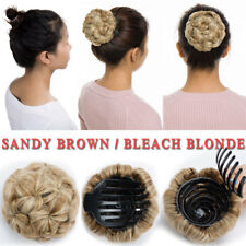 Real Thick Curly Clip in Hair Extensions Bun Updo Scrunchies Pony Tail Synthetic