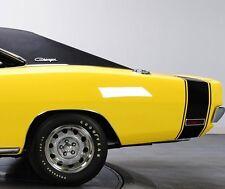 "1970 DODGE CHARGER R/T BUMBLE BEE REAR STRIPES KIT DECAL MOPAR 70 ""MATT BLACK"""