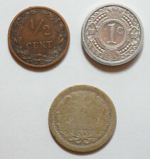 Netherlands: 1/2 Cent 1906 in VF+ & 25 cent silver. Antilles: 1 Cent 1993 XF+.