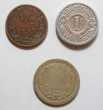 Países Bajos: 1/2 céntimos 1906 en VF + & 25 Centavos De Plata Antillas: 1 céntimos 1993. XF +.