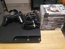 SONY PLAYSTATION 3 PS3 Slim Black Console Bundle! 1 Controllers 10 Games Cords!