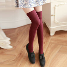 c8b9f0015 Sexy Women Girl Cable Knit Over Knee Thigh High Stockings Cotton Long Socks  New