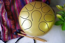 Wuyou Steel Tongue Drum Hand Pan Drum Chakra drum WuYou 9inch Great Gift, Gold