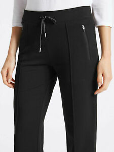EX M&S BLACK Adjustable Waist Straight-Leg Zipped Pocket Joggers - Size 6 to 24