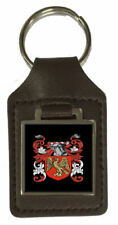 Griffiths Heraldry Surname Coat Of Arms Brown Leather Keyring Engraved