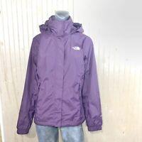 The North Face Women Medium Rain Jacket Coat Plum Purple Mesh Lined Hoodie Nylon