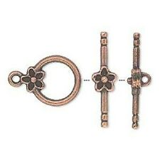 Toggle Clasp Antiqued Copper ptd Pewter, Flower, 14mm, 10 sets