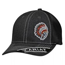 Ariat Mens Baseball Hat Cap Snapback Indian Skull Gray Black Mesh Back 1500406