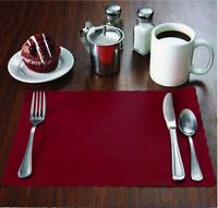 "100 Raise® Burgundy Paper Placemats,Scalloped Edge,10""x14"" place mats,Disposable"