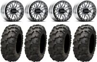"Raceline Ryno Bdlk 14"" Mh Wheels 30"" Blackwater Tires Kawasaki Mule Pro FXT"