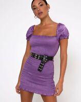 MOTEL ROCKS Milina Dress in Hammered Satin Lavender *Belt not incl*  (mr16)