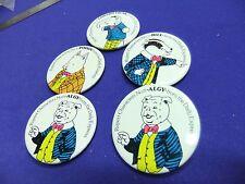 vtg badge rupert characters original tin badges  x5 daily express 1960s 70s ?
