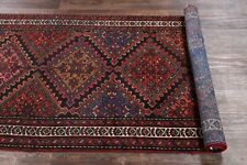 "Antique Geometric Tribal Malayer Hand Knotted Oriental Runner Rug 9' 6"" x 3' 4"""
